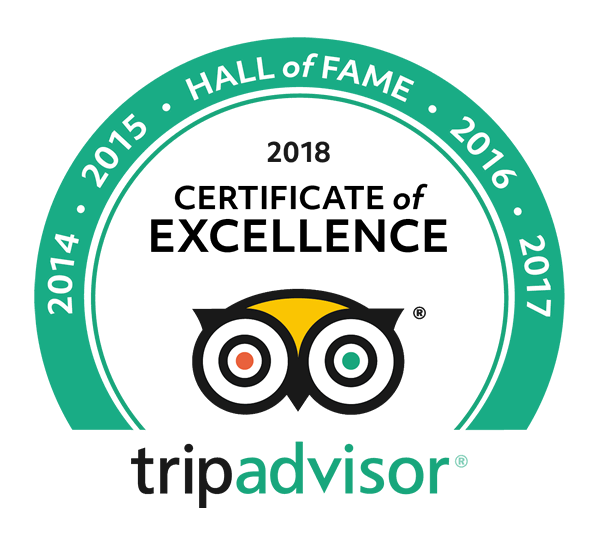 Trip Advisor Hall of Fame Certificate of Excellence 5 years in a row